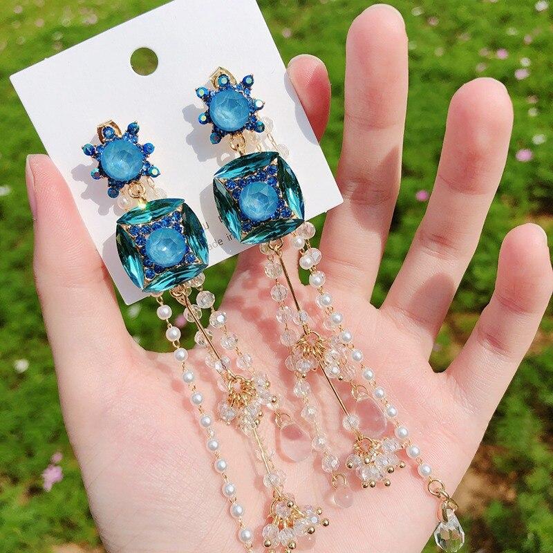 MENGJIQIAO 2020 Korean Vintage Luxury Square Crystal Long Drop Earrings For Women Girls Elegant Pearl Tassel Party Pendiente