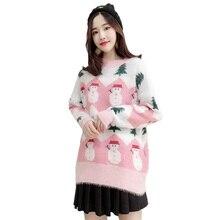 цена на Christmas Ladies Pullover Sweater Mohair Christmas Snowman O-Neck Sweater Autumn Winter Loose Long Sleeve Plush Knit Sweater