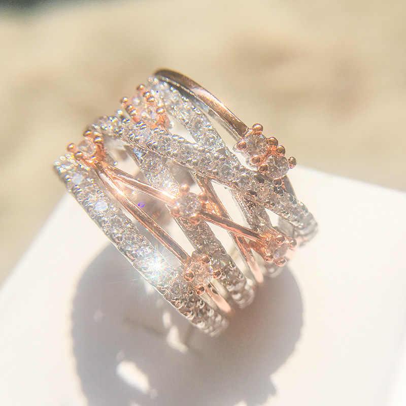 Simple 925 anillos เงิน Vintage cross รูปแบบแหวนคู่คริสตัล infinity แหวน Micro Paved ผู้หญิง Anniversar