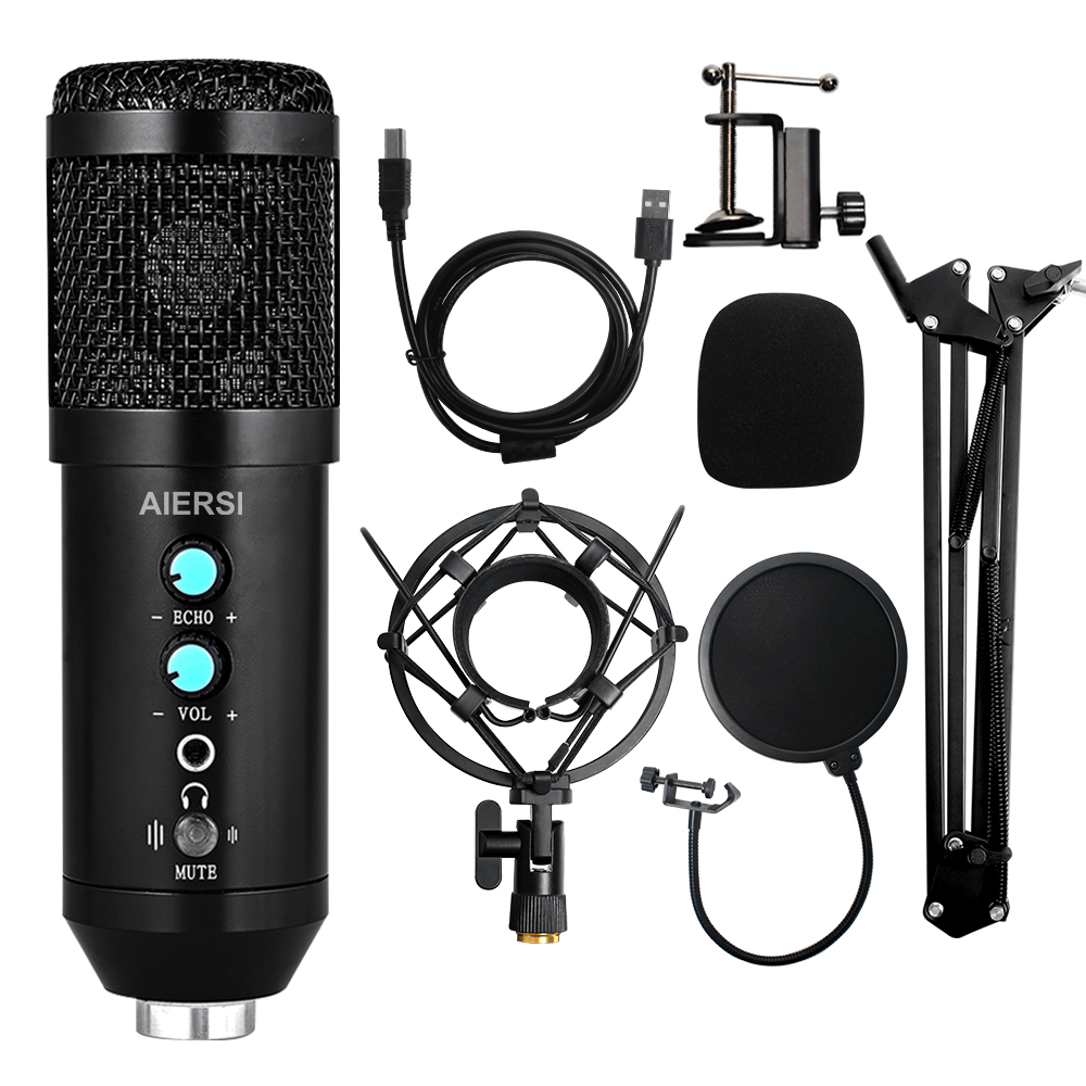Aiersi Metal USB Condenser Recording Microphone For Laptop Computer Recording Studio Streaming Karaoke Youtube TIKTOK