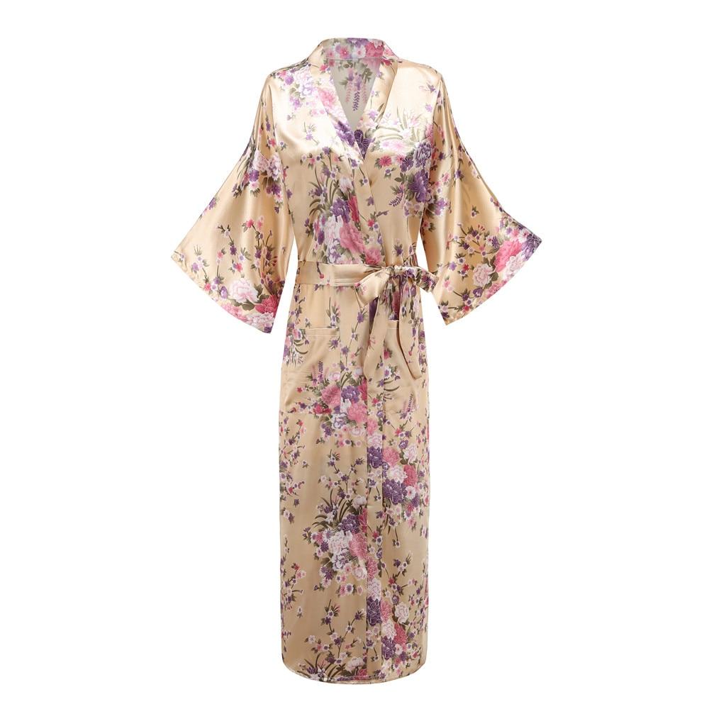 Flower Lady Sexy Robe Sleepwear Plus Size 3XL Long Nightgown Satin Lady Night Dressing Bath Gown Bride Bridesmaid Wedding Kimono