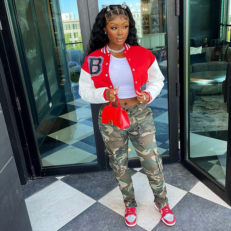 He029f6585a8e4606a7d73e120736cbefm Baseball Jackets for Women 2021 Autumn Letter Print Color Patchwork Cropped Long Sleeve Loose Short Bomber Jacket