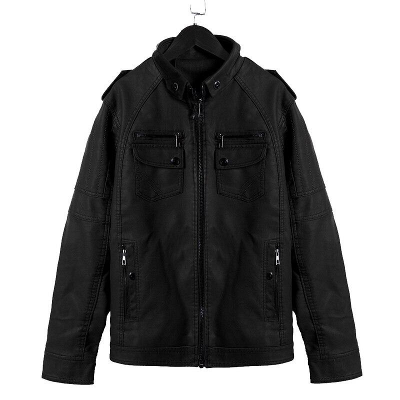 He02a060d8f4b4ae4b7900ef8fc9731c6O Luxury 2019 Leather Jackets Men Autumn Fleece Zipper Chaqueta Cuero Hombre Pockets Moto Jaqueta Masculino Couro Slim Warm Coat