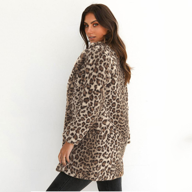 Sexy Leopard Printed Plush Open Stitch Coats Women 2020 Fall Winter Turn-down Collar Long Sleeve Faux Fur Jacket Lady Streetwear