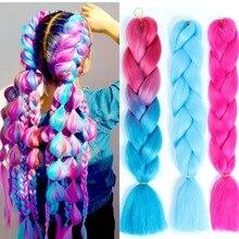 włosy syntetyczne Długie Ombre Jumbo włosy syntetyczne do warkoczy warkocz Kanekalon przedłużanie włosów tęczowy różowy blond fioletowy szydełkowy warkocz MUMUPI