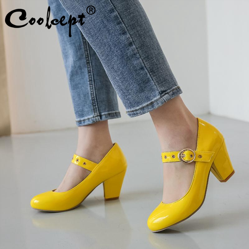 Coolcept Plus Size 32-48 Women Pumps Fashion Buckle High Heel Shoes Women Summer Spring Round Toe Casual Party Bridals Footwear
