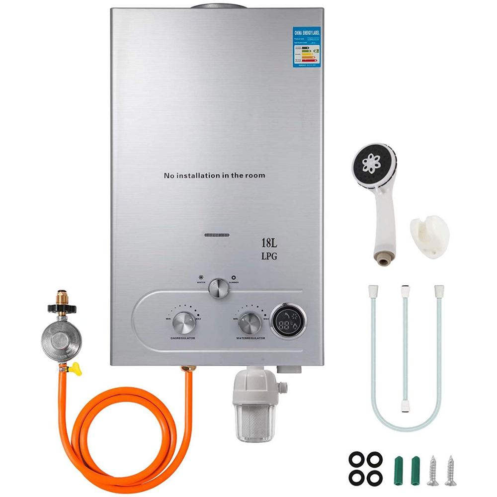 Propane Water Heater 18L 4.8GPM 36KW Instant Liquefied Petroleum Gas Water Heater Stainless Steel Boiler Kit