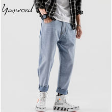 Yasword Autumn Spring Washed Slim Loose Ankle-Length Jeans Men Large Size Denim Pants Hip Hop Style Fashion Free Shipping odinokov brand 2017 spring autumn new arrival men jeans slim fit casual zipper fly denim pants plus size free shipping