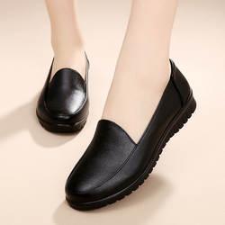 Обувь для пожилых людей большого размера Нескользящая женская обувь на мягкой подошве для среднего возраста кожаные туфли на плоской