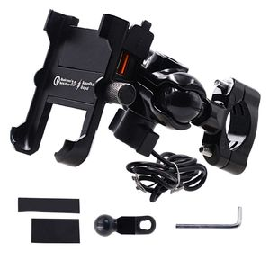 Image 1 - Waterproof Metal Motorcycle Smart Phone Mount with QC 3.0 USB Quick Charger Motorbike Mirror Handlebar Stand Holder for Samsung