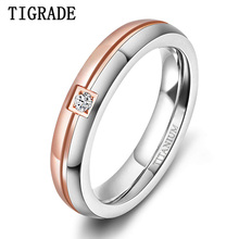 Tigrade Titanium Rings for Women 4mm Couple Engagement Wedding Bands Man CZ Inlaid Size 5 to 12 Custom Engraving For Lover