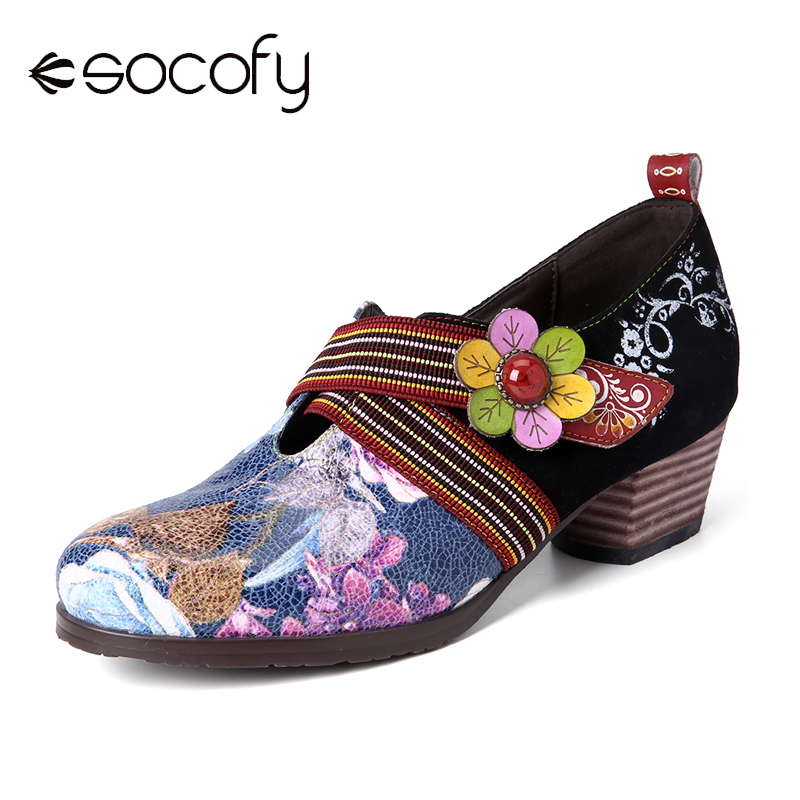 SOCOFY Retro Embossed Splicing Floral Genuine Leather High Heel Zipper Pumps Elegant Shoes Women Shoes Botas Mujer 2020