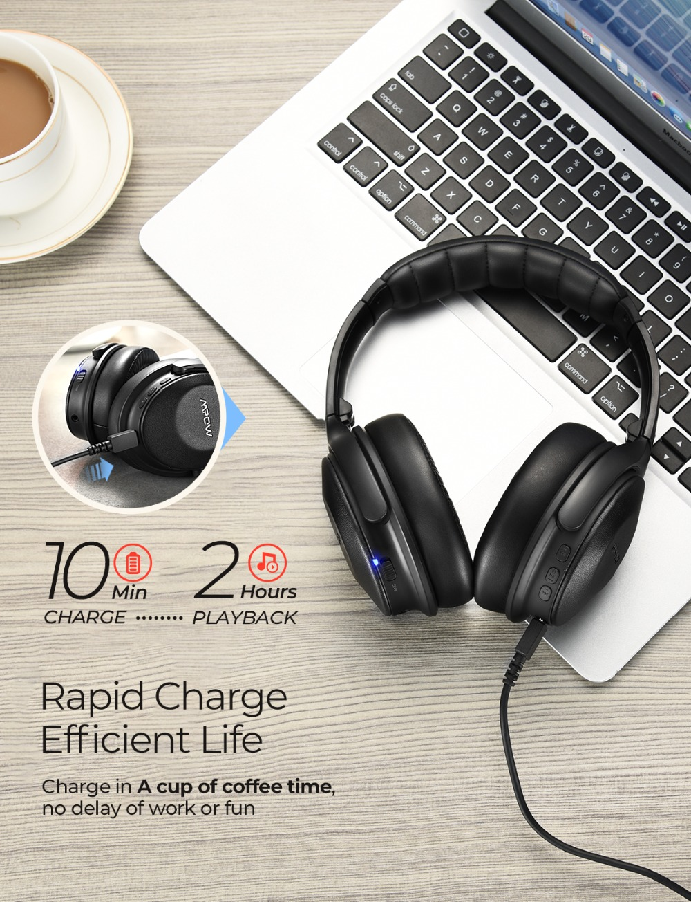 Mpow H17 Wireless Headphone Bluetooth ANC Headphones Fast Charging Active Noise Cancelling Headset For Huawei P30 Pro iPhone X 6 (4)