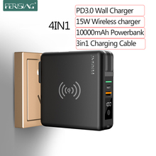 FERISING 10000mAh 15W Wireless Power bank + PD Fast Quick Charge Type-C USB C QC3.0 Powerbank for iPhone Samsung Xiaomi Charger