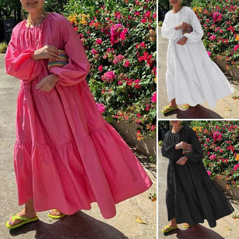 Купить пляжное длинное платье vonda 2021 повседневное женское однотонное