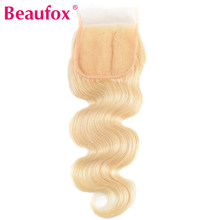 Perruque Lace Closure naturelle brésilienne Remy Body Wave-Beaufox, 4*4, partie libre, avec cheveux de bébé, blond 613