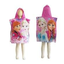 Disney Blue Frozen Elsa Anna Princess Bath Towel for 0-3 Years Baby Girls Kids Hooded Beach Towel Summer Swimming Towel Cloak
