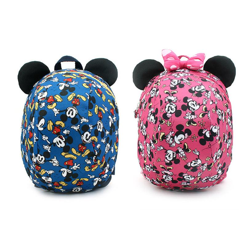 Winghouse Children Backpacks Portfolio Disney Mickey Minnie Mouse Anti-lost Package Boy Girl Dome School Bag Safety Harness Bag