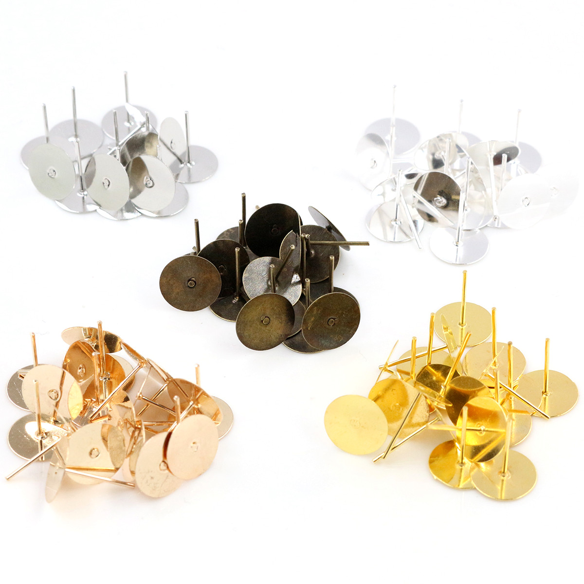 4mm 6mm 8mm 10mm 100pcs/Lot Fashion 5 Colors Plated Stainless Iron Earring Studs Blank Base Earring Post (with Stopper) Base