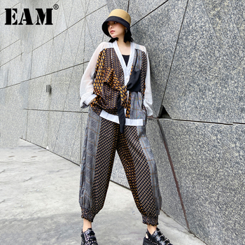 [EAM] Printed Wide Leg Pants Big Size Two Piece Suit New V-Neck Long Sleeve Loose Fit Women Fashion Spring Summer 2020 1W567