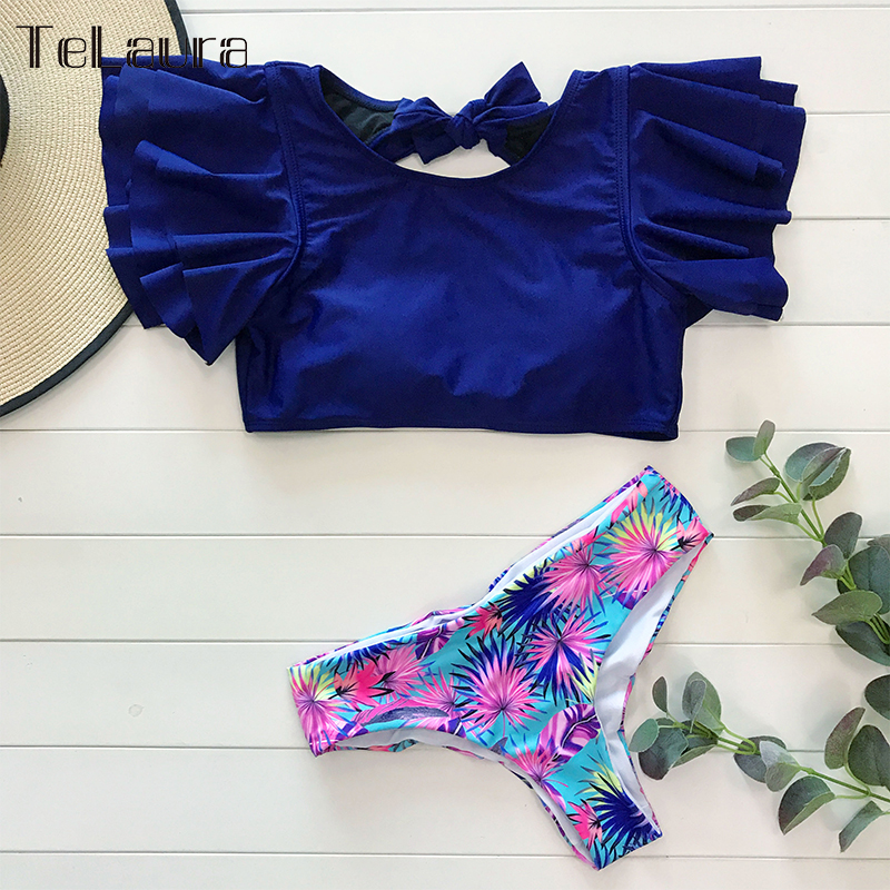 He02b29b8ccf344f4a9af8443a0ba0b2di Ruffle High Waist Bikini 2019 Swimwear Women Swimsuit Push Up Bikinis Women Biquini Print Swimsuit Female Beachwear Bathing Suit