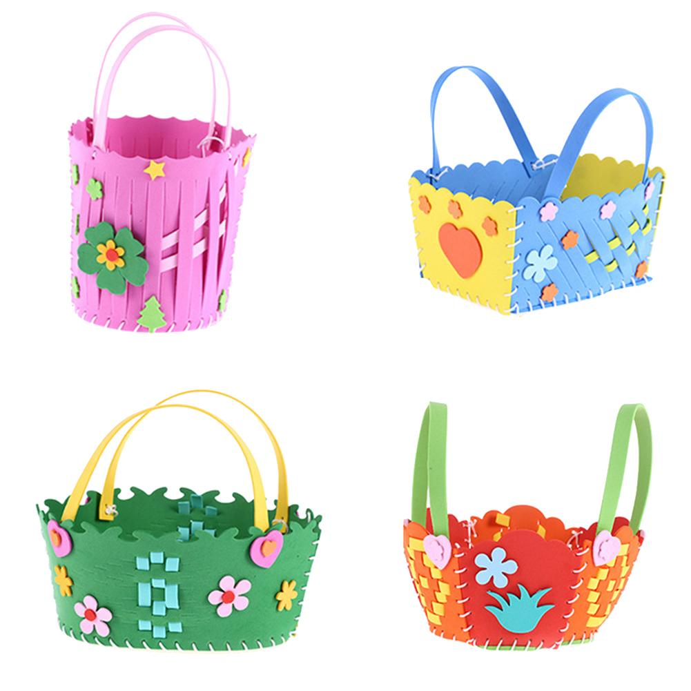 Children's Cute Flower Shaped Woven EVA Basket DIY Hand Sewn Bag Educational Toys For Children New Year Gifts