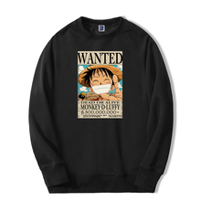 Harajuku Mens Hoodie Tracksuit-Monkey-D Anime Luffy One-Piece Sweatshirts Wanted Fashion
