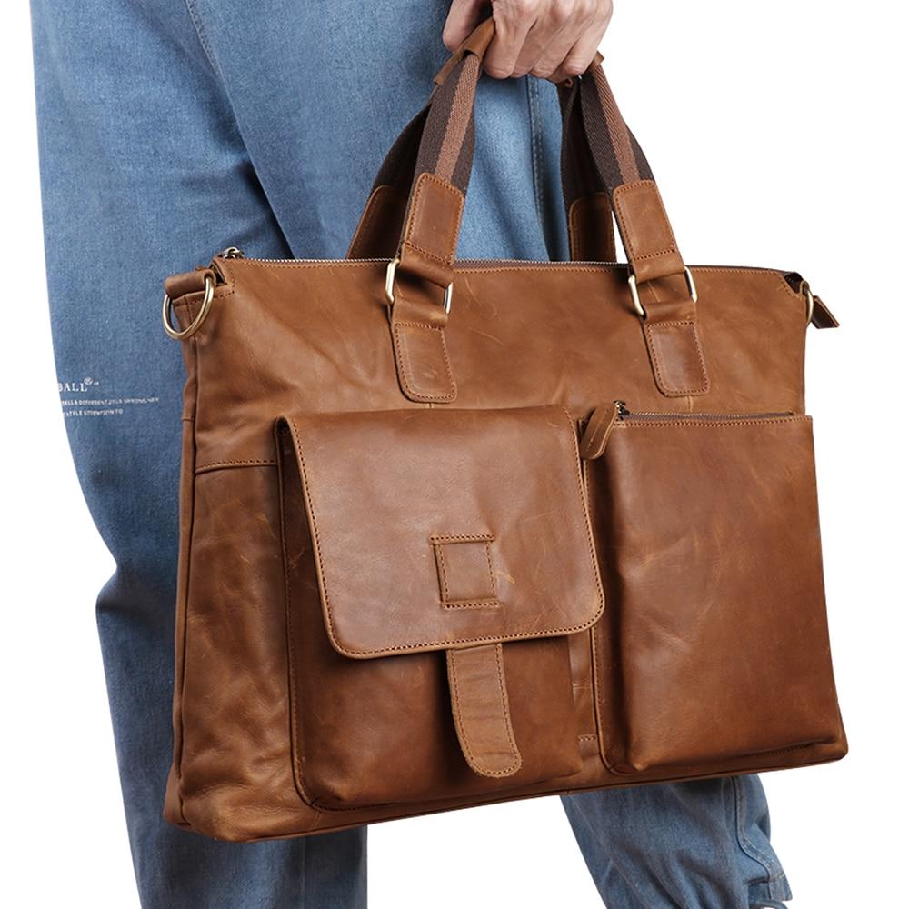 Newest Men's Briefcase Business Fashion Leather Mens Bag 17 inch Horizontal Section Messenger Handbag Computer Bag for Men