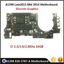 """لوحة أم أصلية A1398 820 3787 A لـ ماك بوك ريتينا 15 """"أواخر 2013 منتصف 2014 لوحة المنطق i7 2.3GHz 2.6/2.8GHz 16GB Rams تم اختبارها"""