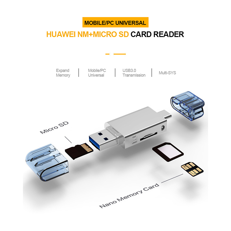 2 In 1 Type-C USB3.0 To Micro-SD/NM Card Reader For Mobile/PC Use Nano Memory Card Reader For Huawei Mate20/P30 Pro