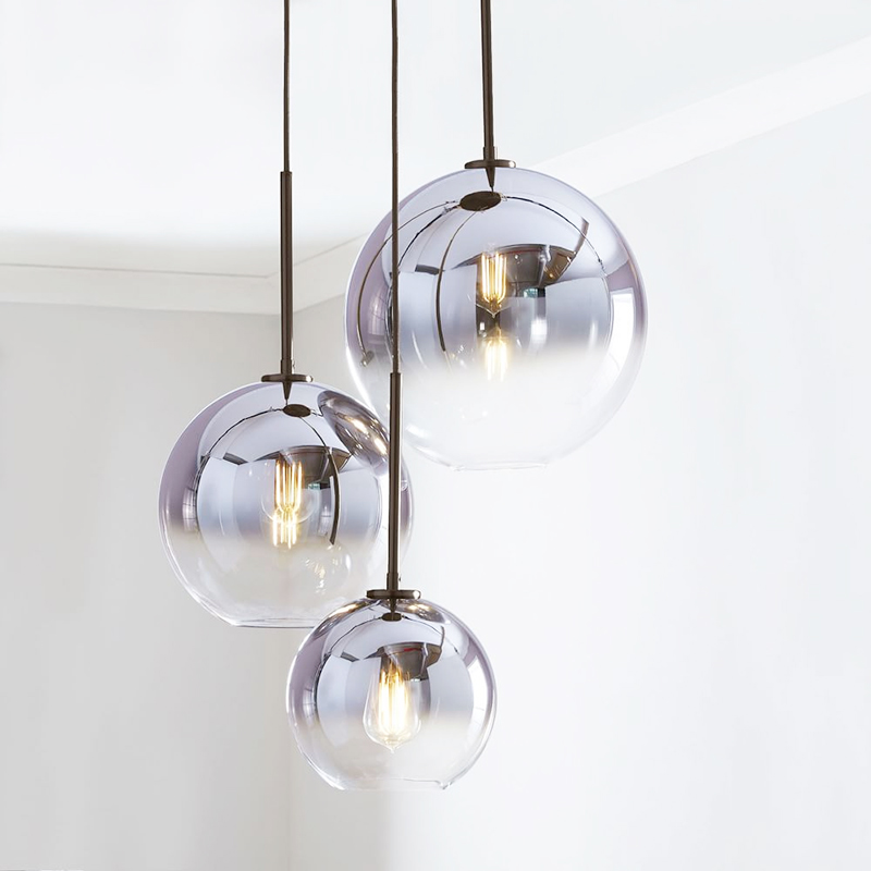 Nordic LED Pendant Light LightingtSilver Gold Glass Pendant Lamp Ball Hanging Lamp Kitchen Fixtures Dining Living Room Luminaire
