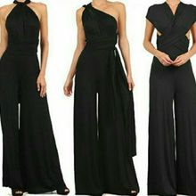 Womens wedding Multi Way Convertible Wrap Jumpsuit Romper Wide Palazzo Jumper