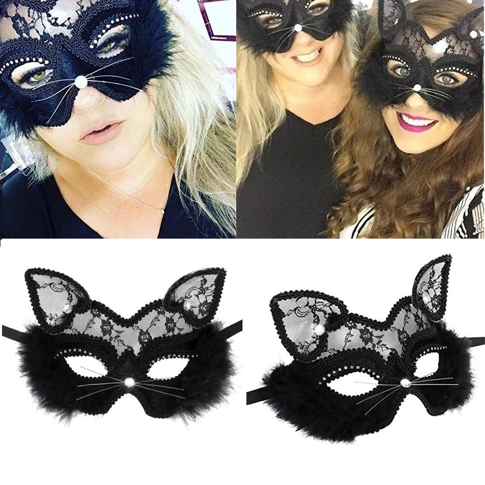 Unisex Men/'s Cat Face Mask Black Halloween Fancy Dress Dance Party Accessories