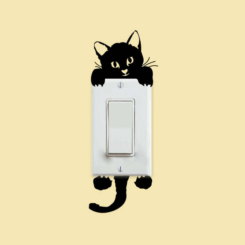 Cartoon Animals Wall Decals Lovely Cat Light Switch Phone Wall Stickers DIY Home Decoration PVC Mural Art Kitchen for Kids Rooms