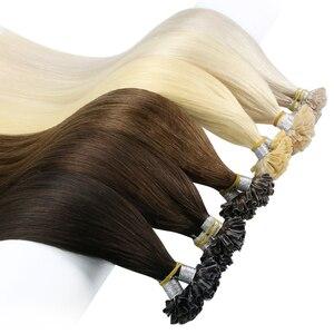 【2020 New】Ugeat U Tip Hair Extensions Nail Tip Human Hair Extensions Hot Fusion Real Remy Human Hair Straight Hair 1g/strand 50G