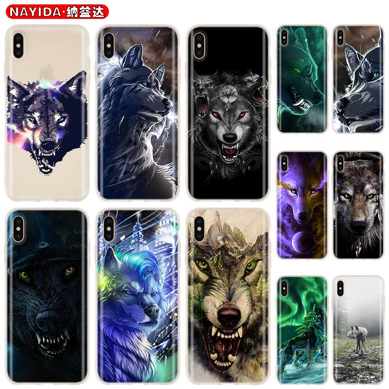 <font><b>Baseus</b></font> Clear Cover Case for <font><b>iPhone</b></font> 11 Pro X XR XS Max 8 7 <font><b>6s</b></font> <font><b>6</b></font> Plus 5 5s SE 4s Funda Coque Soft silicone Etui Fierce Snow Wolf image