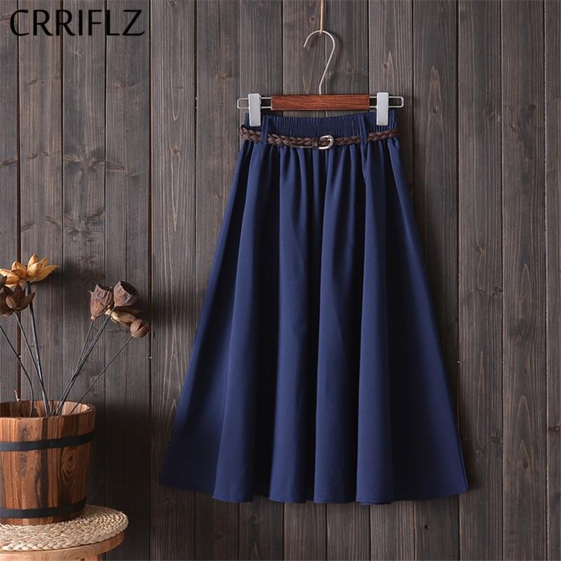 CRRIFLZ Midi Knee Length Summer Skirt Women With Belt 2020 Fashion Korean Ladies High Waist Pleated A-line School Skirt Female