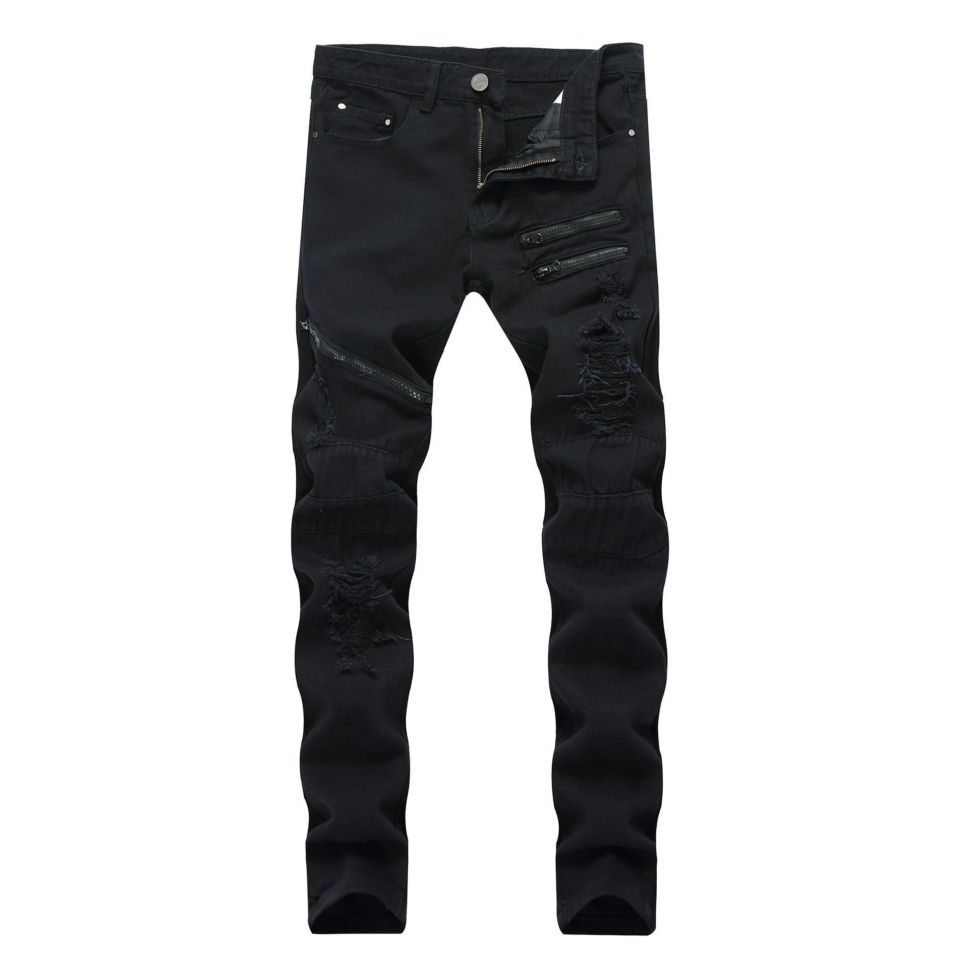 Cross Border Foreign Trade Men Slim Fit Zipper Black And White With Pattern Casual Jeans Amazon Supply America Trousers