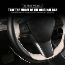 Car Steering Wheel Cover Hand sewn Leather Protector Interior Pad Modified Decoration For Tesla Model 3 Model Y Car Accessories