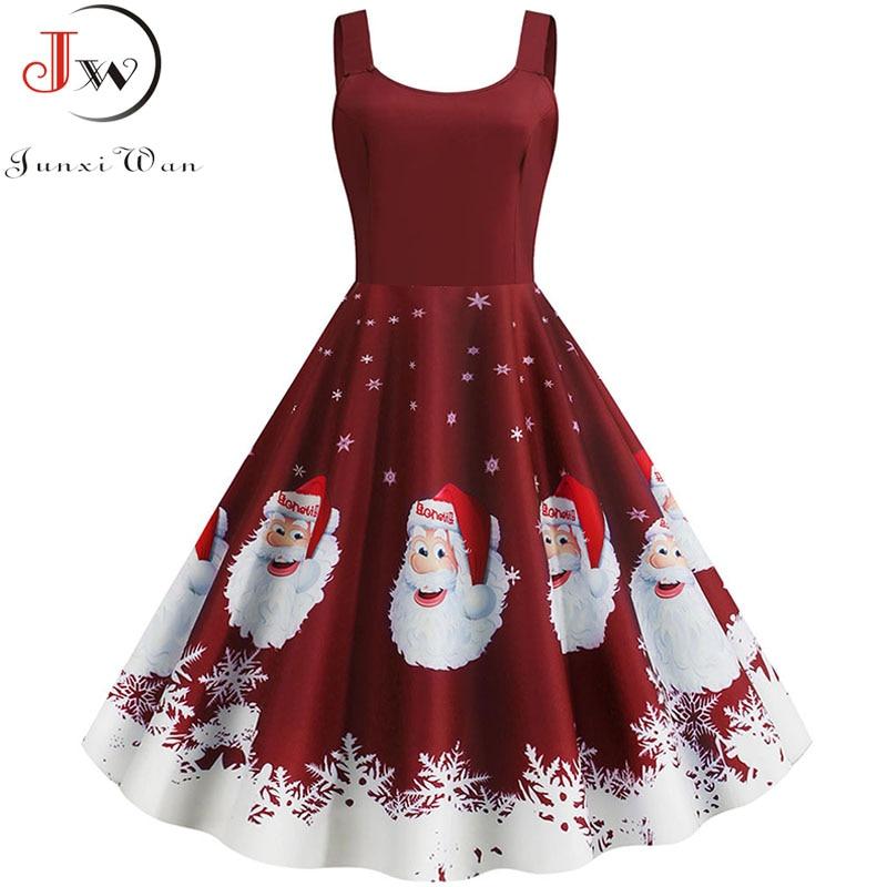 2019 Winter Christmas Dress Women Sexy Spaghetti Strap Swing Party Dress Vintage Robe Santa Snowflake Print Vestidos Plus Size