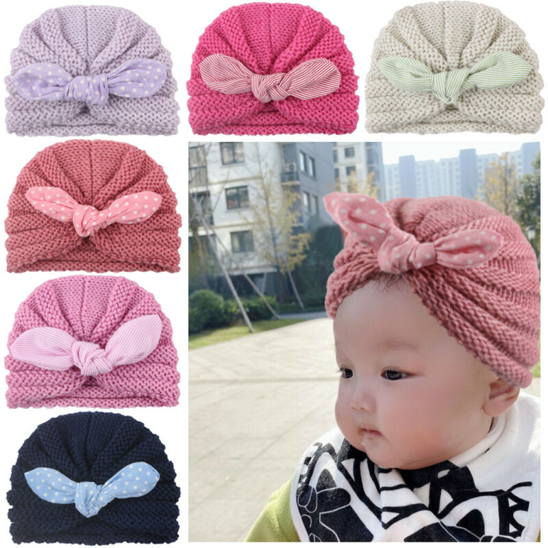 Jchen TM Cute Newborn Toddler Kids Baby Boy Girl Turban Cotton Beanie Hat Winter Warm Cap for 0-6 Y