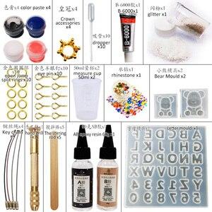Image 2 - DIY Nhựa Dính Gummy Kèm Chữ Cái Khuôn Trang Sức Làm Dụng Cụ Với Nhựa AB Keo Dán Móc Khóa Bộ DIY quà Tặng