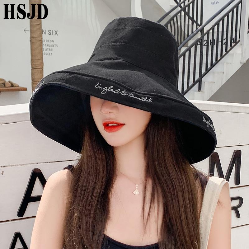 Super Large Brim Anti-UV Beach Hat Summer Women Sun Hats Foldable Bucket Hat 2020 Fashion Letter Embroidery Female Visor Bonnet
