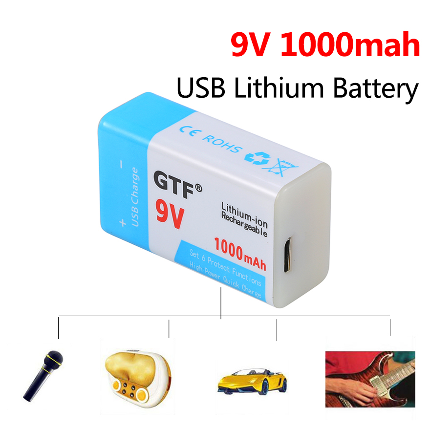 <font><b>9V</b></font> 6F22 1000mah <font><b>USB</b></font> <font><b>Charging</b></font> <font><b>Battery</b></font> Rechargeable Lithium <font><b>Battery</b></font> <font><b>9v</b></font> <font><b>USB</b></font> for Multimeter Microphone Toy Remote Control KTV Cells image