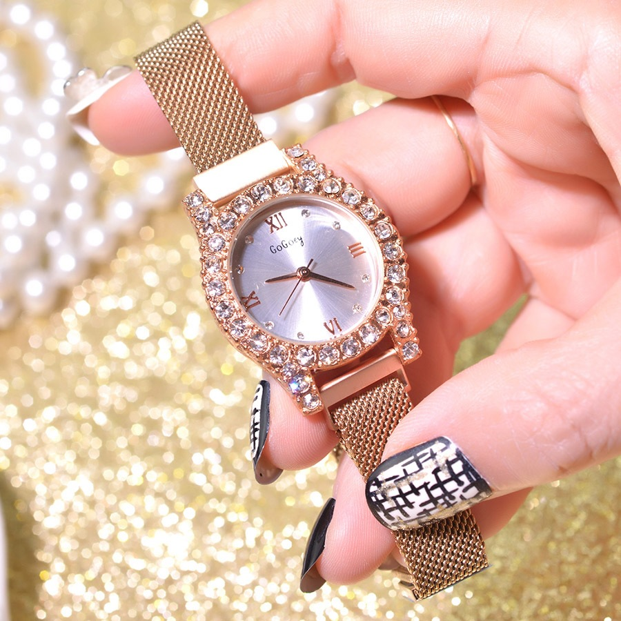 Shining Crystal Women Luxury Fashion Watches Gold Stainless Steel Mesh Strap Quartz Watch Magnet Buckle Ladies Wristwatches