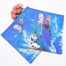 20pc/set Frozen Freezing Anna Elsa Cartoon Party Supplies Paper Napkin Birthday Party Decoration And Party Supplies For Girls(China)