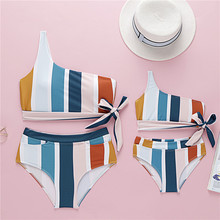 Mother Daughter Swimwear Women Girls Family Matching Clothes Swimming Suit Two Pieces Striped Padded Off Shoulder