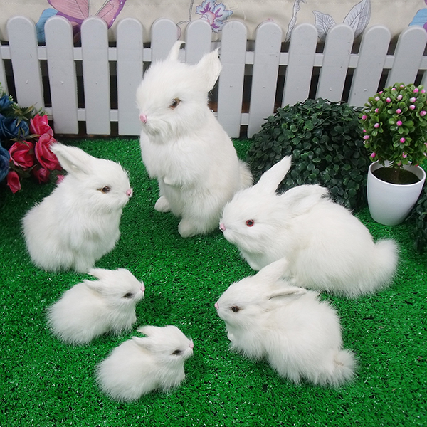 Simulation Rabbit Model Children Large Birthday Gift Toy Doll Ornaments Mini Rabbit Plush ToyFamily Portrait Rabbit