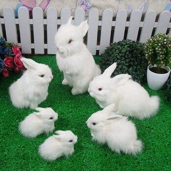 Simulation rabbit model children large birthday gift toy doll ornaments mini rabbit plush toyFamily portrait rabbit