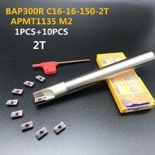 10 pcs apmt1135 m2 + 1 pcs 16mm 밀링 커터 300r C16 16 150 2T 하드 cnc 밀링 커터 밀링 공구 초경 삽입 선반 커터